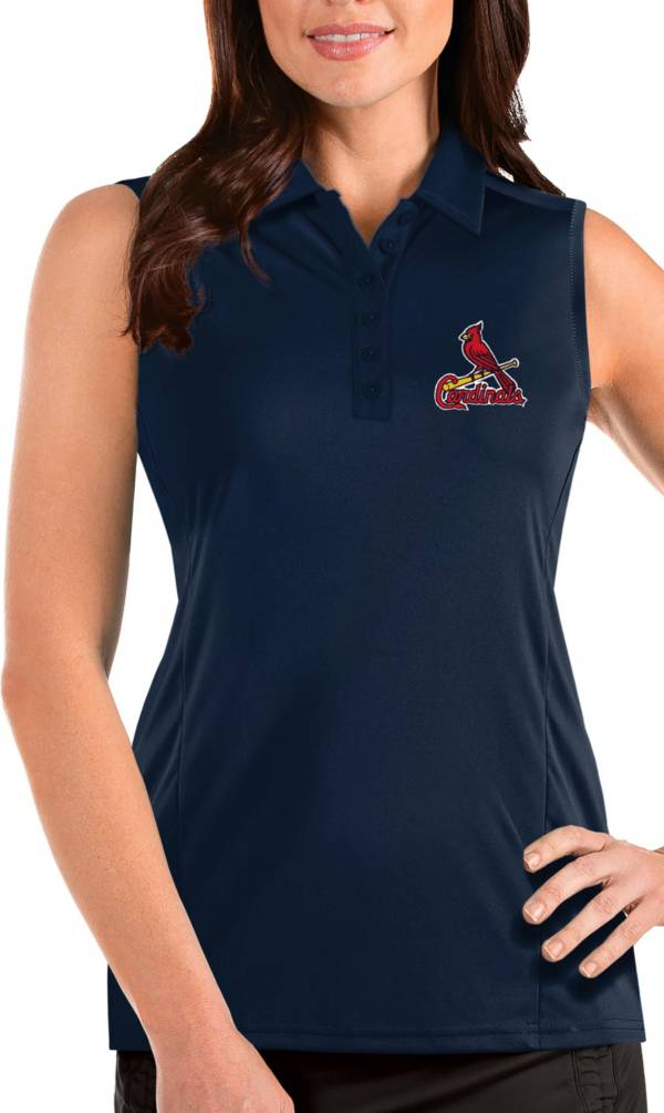 Antigua Women's St. Louis Cardinals Navy Tribute Sleeveless Polo product image
