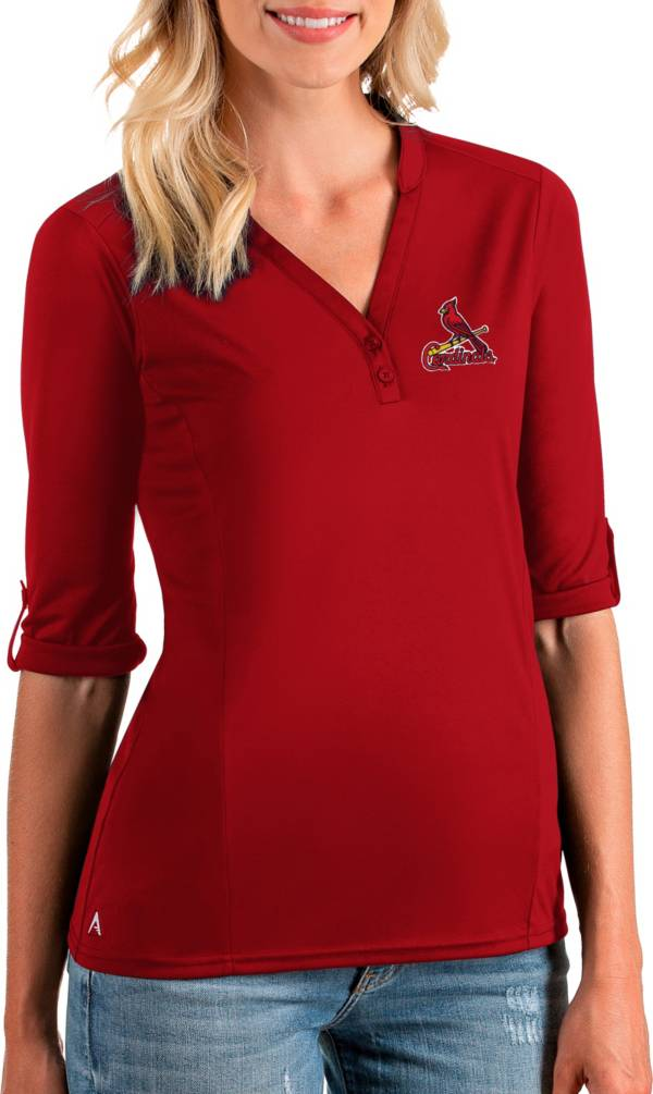 Antigua Women's St. Louis Cardinals Red Accolade Three-Quarter Sleeve Polo product image