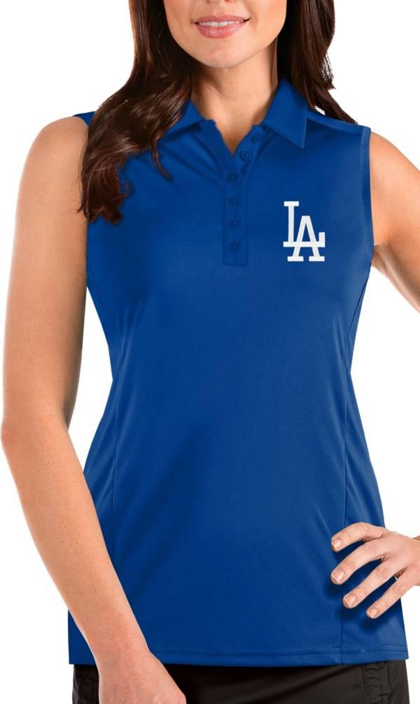 Antigua Women's Los Angeles Dodgers Blue Tribute Sleeveless Polo product image