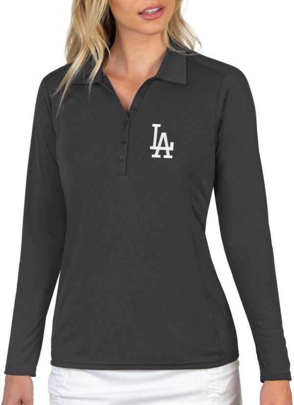 Antigua Women's Los Angeles Dodgers Grey Tribute Long Sleeve Performance Polo product image