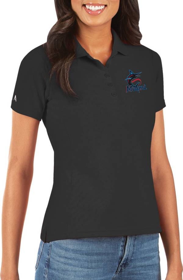 Antigua Women's Miami Marlins Black Legacy Pique Polo product image