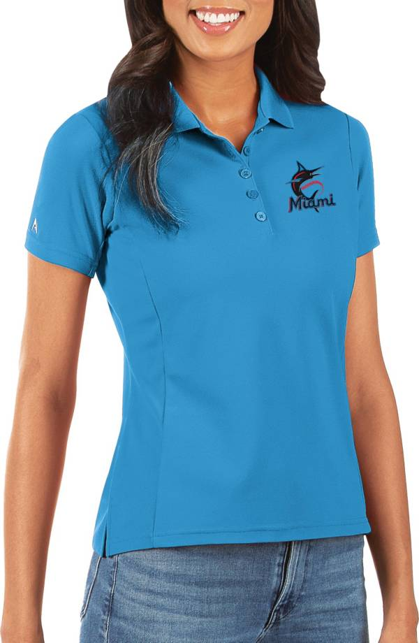 Antigua Women's Miami Marlins Blue Legacy Pique Polo product image