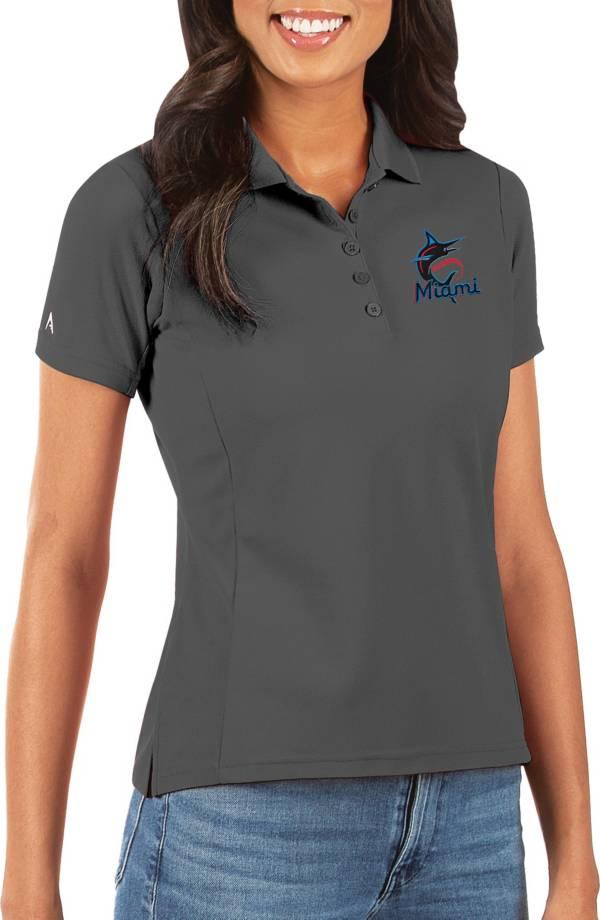 Antigua Women's Miami Marlins Grey Legacy Pique Polo product image