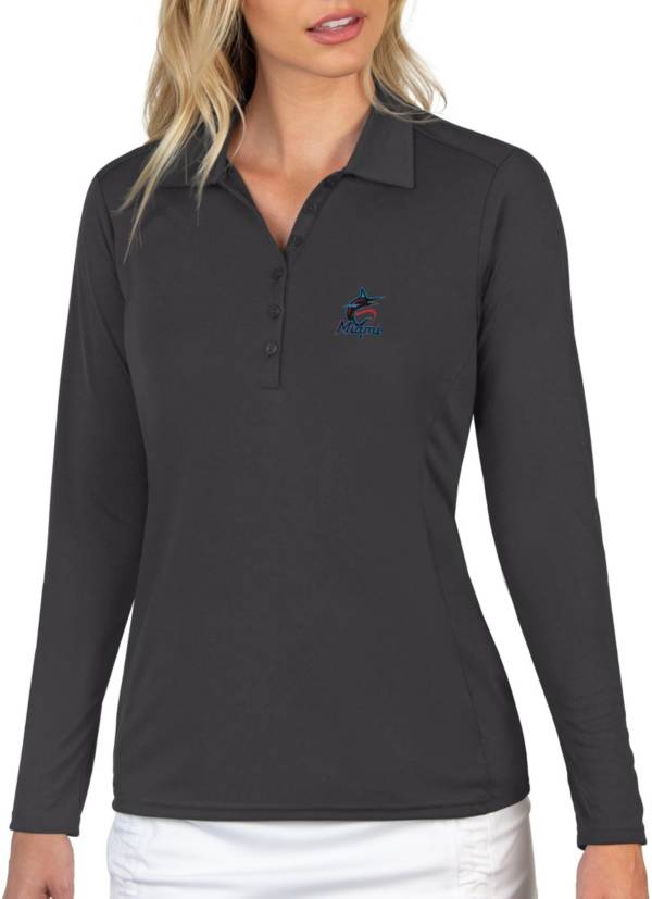 Antigua Women's Miami Marlins Grey Tribute Long Sleeve Performance Polo product image