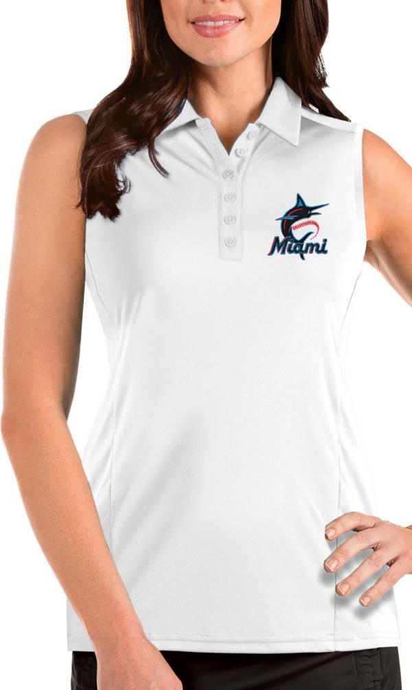 Antigua Women's Miami Marlins White Tribute Sleeveless Polo product image
