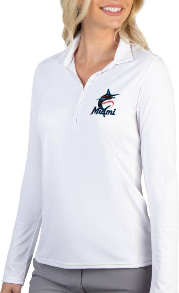 Antigua Women's Miami Marlins Tribute Long Sleeve Performance White Polo product image
