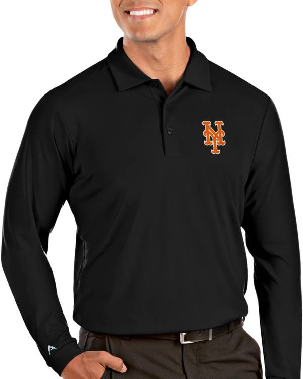 Antigua Men's New York Mets Tribute Long Sleeve Performance Black Polo product image