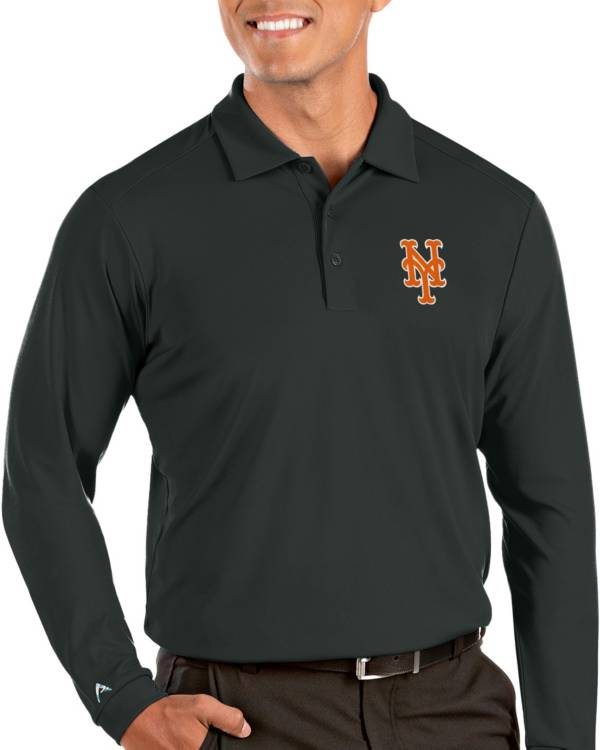 Antigua Men's New York Mets Grey Tribute Long Sleeve Performance Polo product image