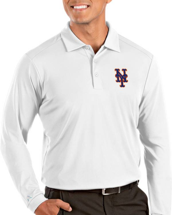 Antigua Men's New York Mets Tribute Long Sleeve Performance White Polo product image