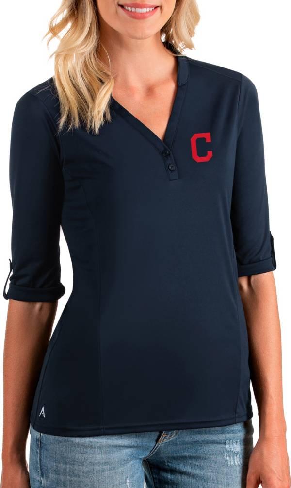 Antigua Women's Cleveland Indians Navy Accolade Three-Quarter Sleeve Polo product image