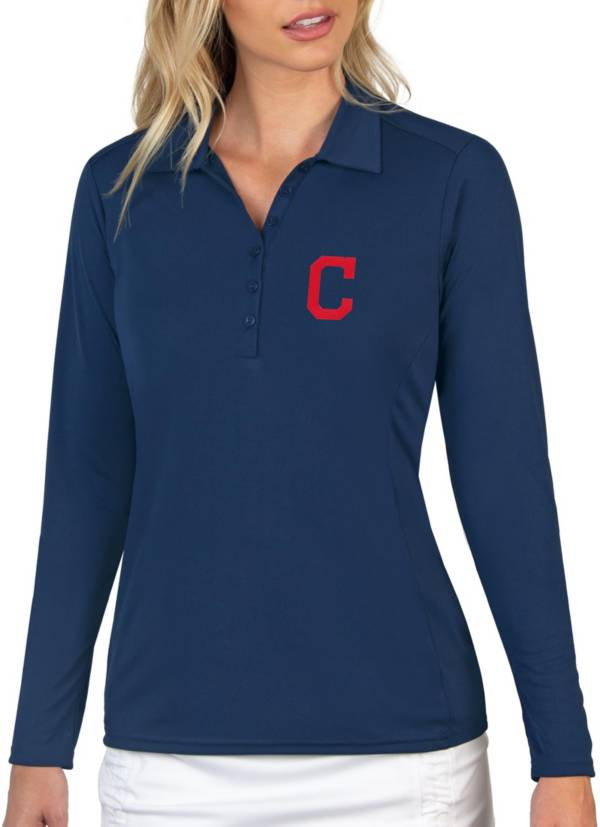 Antigua Women's Cleveland Indians Navy Tribute Long Sleeve Performance Polo product image