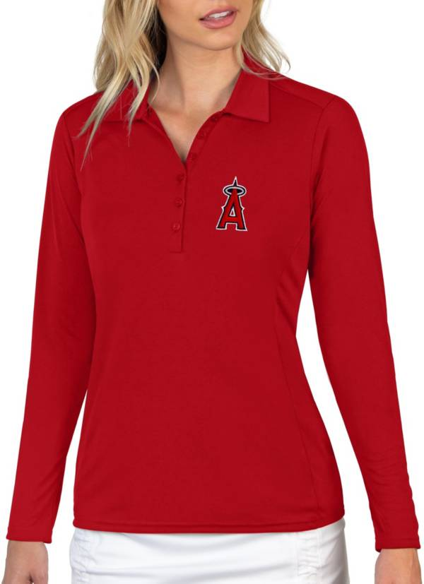 Antigua Women's Los Angeles Angels Red Tribute Long Sleeve Performance Polo product image