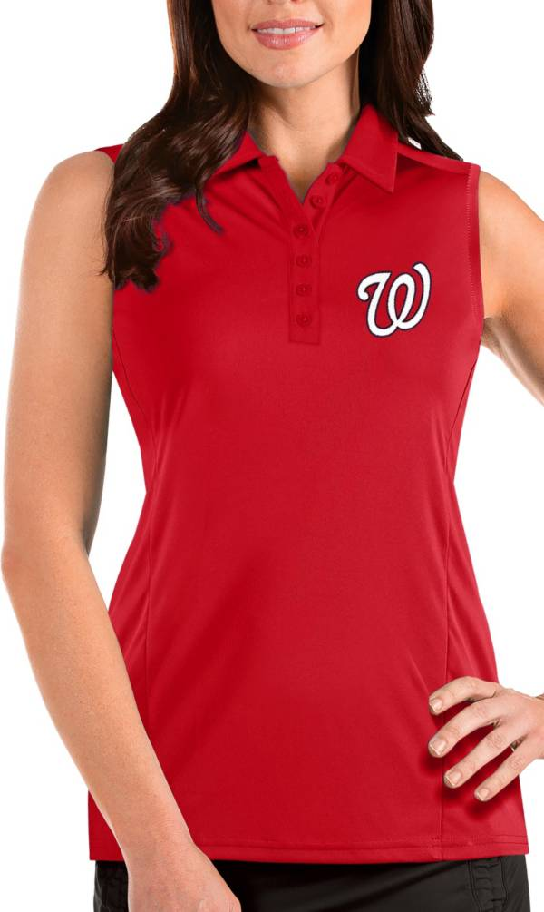 Antigua Women's Washington Nationals Red Tribute Sleeveless Polo product image