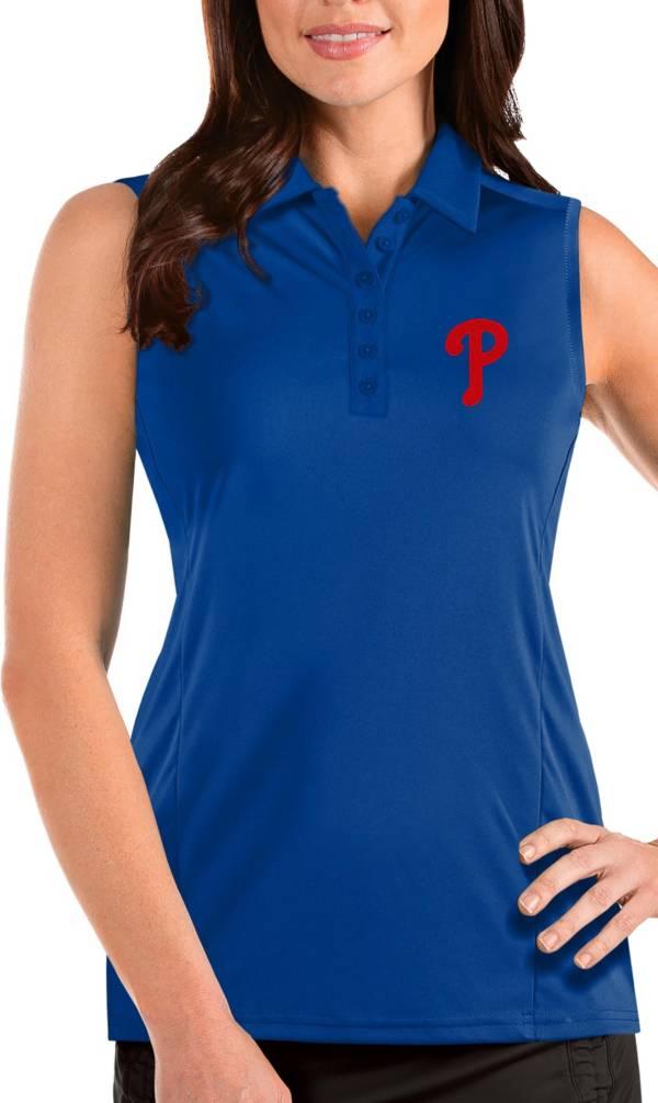 Antigua Women's Philadelphia Phillies Blue Tribute Sleeveless Polo product image