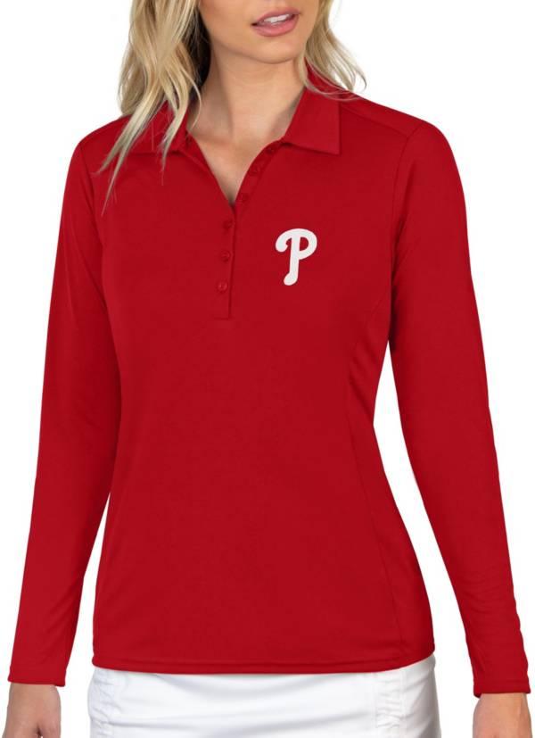 Antigua Women's Philadelphia Phillies Red Tribute Long Sleeve Performance Polo product image