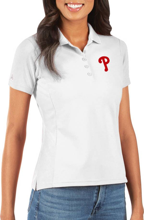 Antigua Women's Philadelphia Phillies White Legacy Pique Polo product image