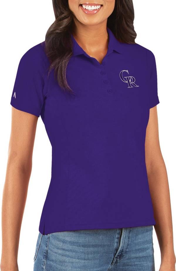 Antigua Women's Colorado Rockies Purple Legacy Pique Polo product image