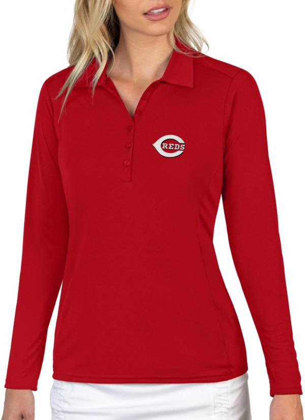 Antigua Women's Cincinnati Reds Red Tribute Long Sleeve Performance Polo product image