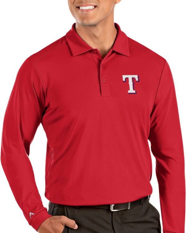 Antigua Men's Texas Rangers Red Tribute Long Sleeve Performance Polo product image