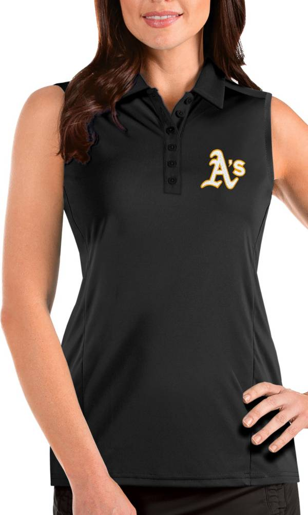 Antigua Women's Oakland Athletics Black Tribute Sleeveless Polo product image