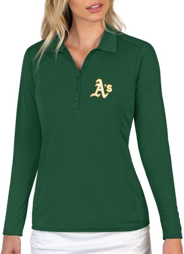Antigua Women's Oakland Athletics Green Tribute Long Sleeve Performance Polo product image