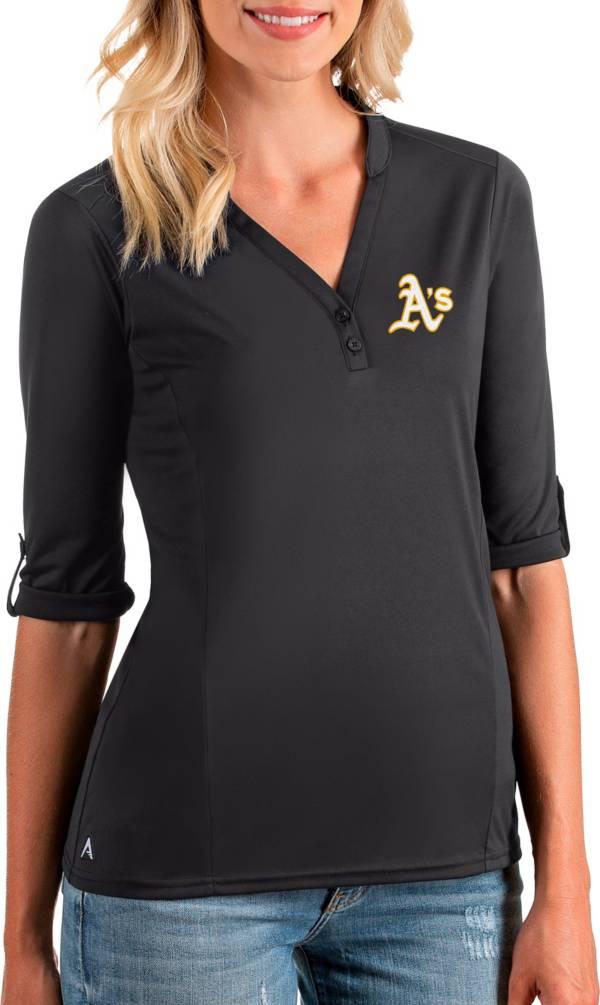 Antigua Women's Oakland Athletics Grey Accolade Three-Quarter Sleeve Polo product image