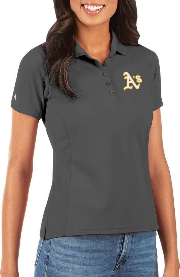 Antigua Women's Oakland Athletics Grey Legacy Pique Polo product image