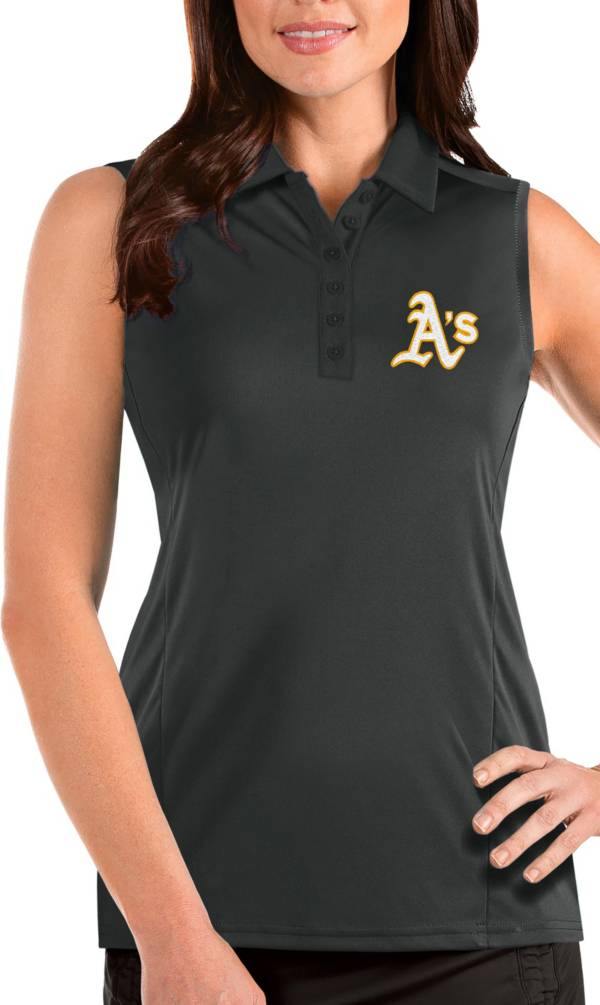 Antigua Women's Oakland Athletics Grey Tribute Sleeveless Polo product image