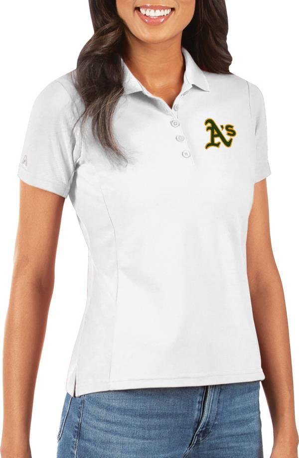 Antigua Women's Oakland Athletics White Legacy Pique Polo product image