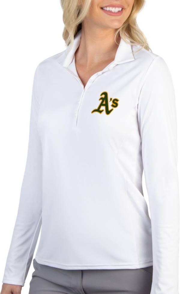 Antigua Women's Oakland Athletics Tribute Long Sleeve Performance White Polo product image