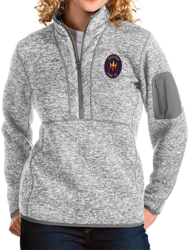 Antigua Women's Chicago Fire Grey Fortune Quarter-Zip Pullover product image
