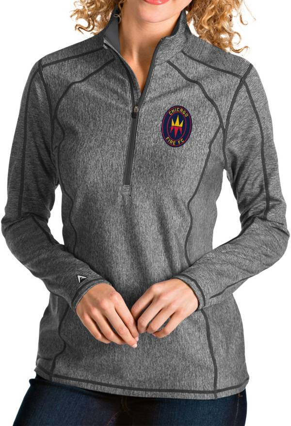 Antigua Women's Chicago Fire Grey Tempo Quarter-Zip Pullover product image