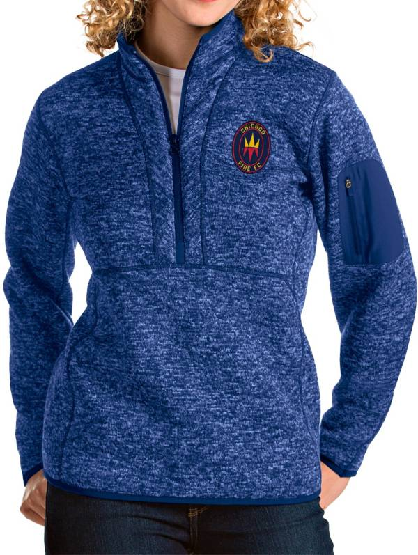 Antigua Women's Chicago Fire Navy Fortune Quarter-Zip Pullover product image