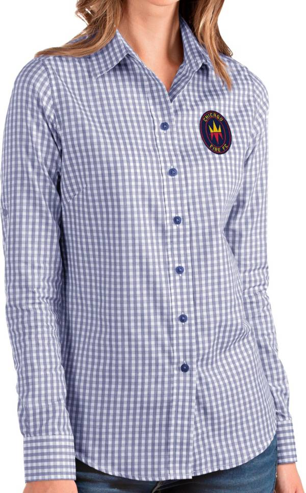 Antigua Women's Chicago Fire Navy Structure Button Down Long Sleeve Shirt product image