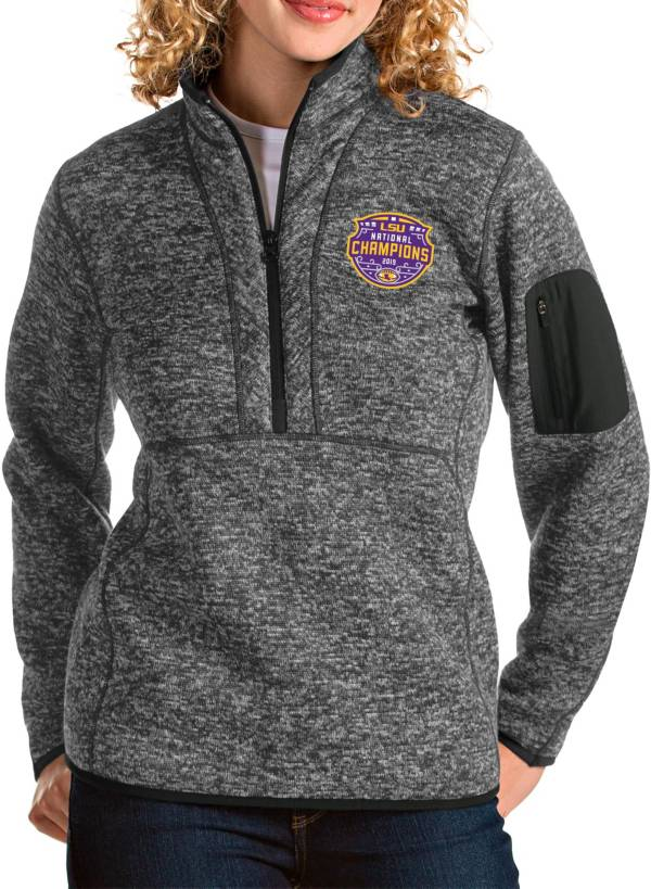 Antigua Women's 2019 National Champions LSU Tigers Grey Fortune Pullover Jacket product image