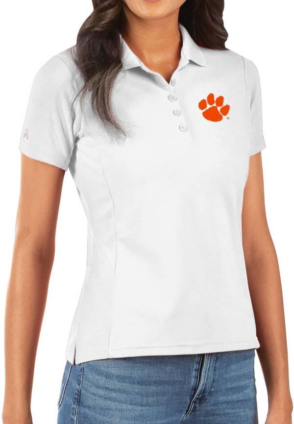 Antigua Women's Clemson Tigers Legacy Pique White Polo product image