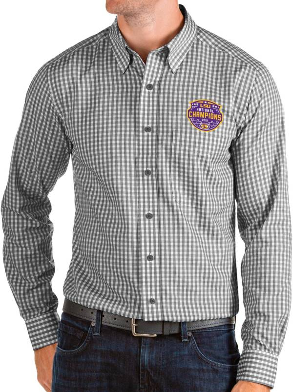 Antigua Men's 2019 National Champions LSU Tigers Structure Button Down Long Sleeve Black Shirt product image