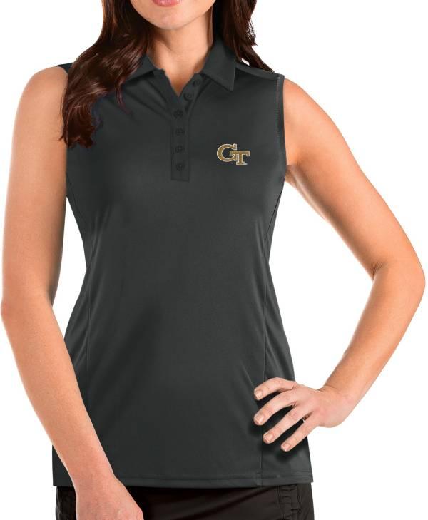 Antigua Women's Georgia Tech Yellow Jackets Grey Tribute Sleeveless Tank Top product image