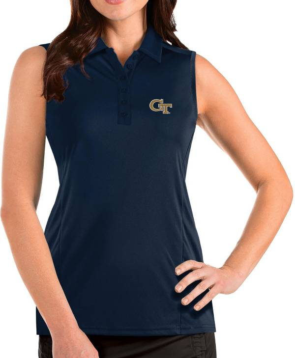 Antigua Women's Georgia Tech Yellow Jackets Navy Tribute Sleeveless Tank Top product image