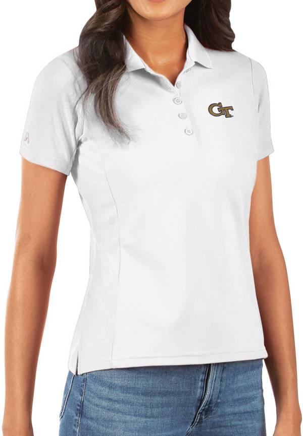 Antigua Women's Georgia Tech Yellow Jackets Legacy Pique White Polo product image