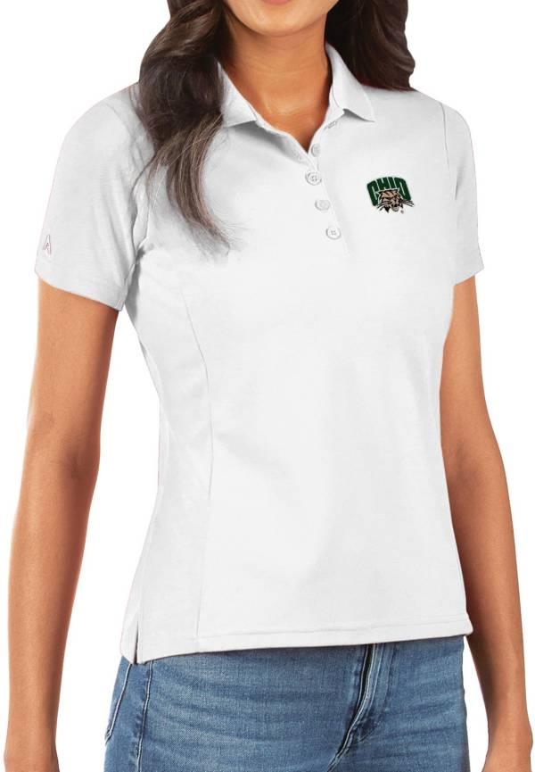 Antigua Women's Ohio Bobcats Legacy Pique White Polo product image