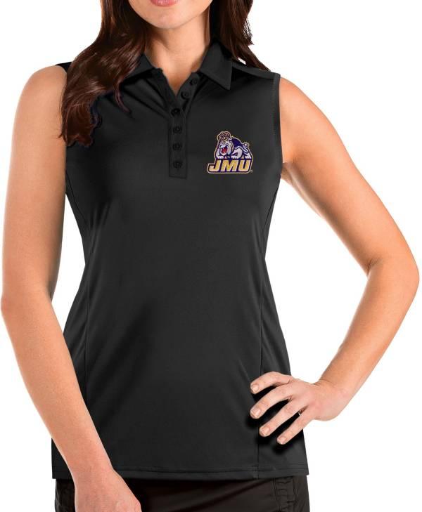 Antigua Women's James Madison Dukes Tribute Sleeveless Tank Black Top product image