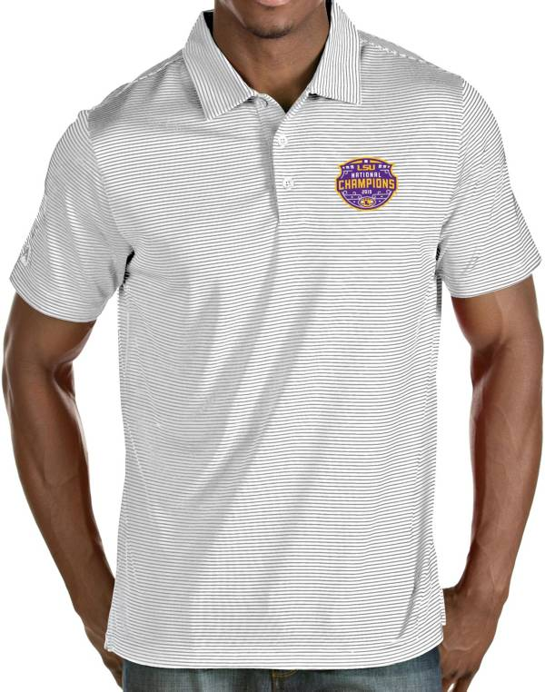 Antigua Men's 2019 National Champions LSU Tigers Quest Performance White Polo product image