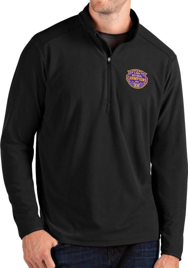 Antigua Men's 2019 National Champions LSU Tigers Glacier Quarter-Zip Black Shirt product image