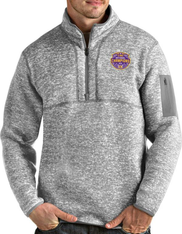 Antigua Men's 2019 National Champions LSU Tigers Grey Fortune Pullover Jacket product image