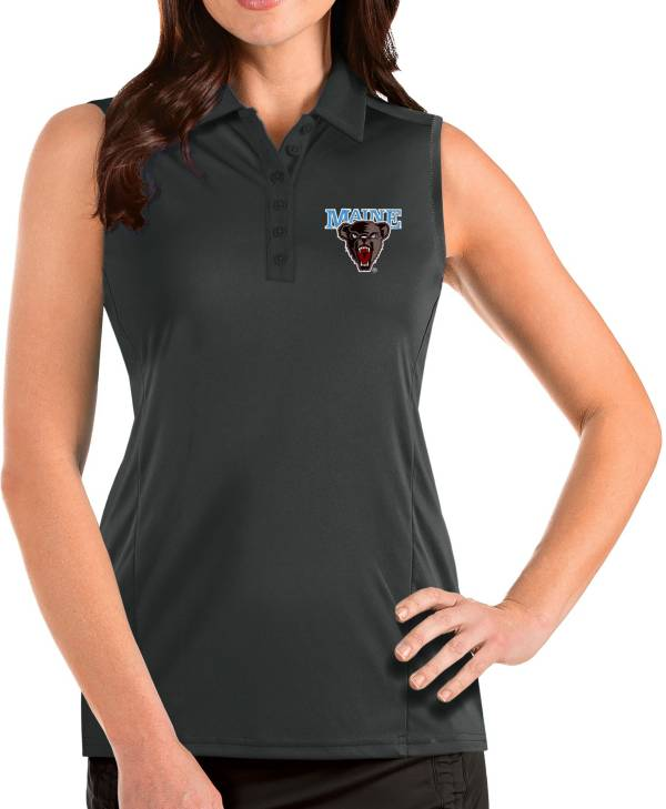 Antigua Women's Maine Black Bears Grey Tribute Sleeveless Tank Top product image