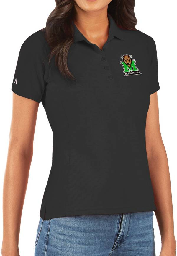 Antigua Women's Marshall Thundering Herd Legacy Pique Black Polo product image