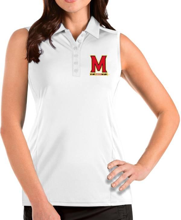 Antigua Women's Maryland Terrapins Tribute Sleeveless Tank White Top product image