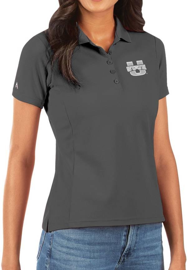 Antigua Women's Utah State Aggies Grey Legacy Pique Polo product image