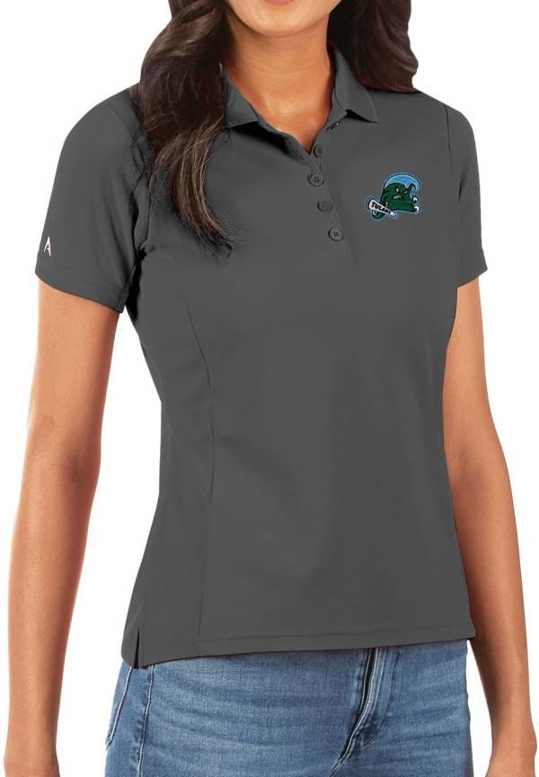 Antigua Women's Tulane Green Wave Grey Legacy Pique Polo product image